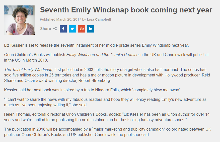 Emily book 7 announcement in the Bookseller magazine