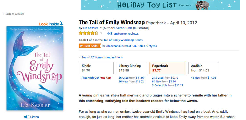 The best selling Emily Windsnap books by Liz Kessler