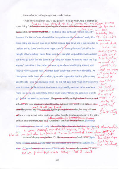 A heavily edited page of manuscript