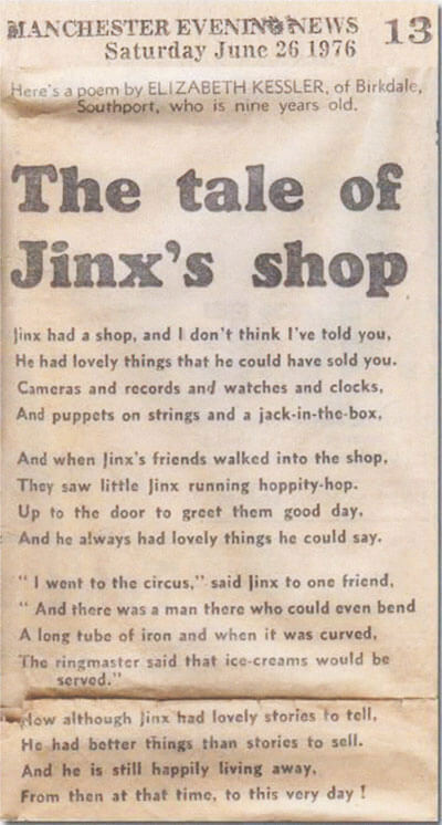 'The Tale of Jinx's Shop', a poem by Liz Kessler written when she was nine years old.